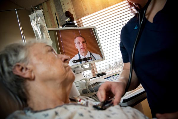 Telehealth nurse with stethoscope