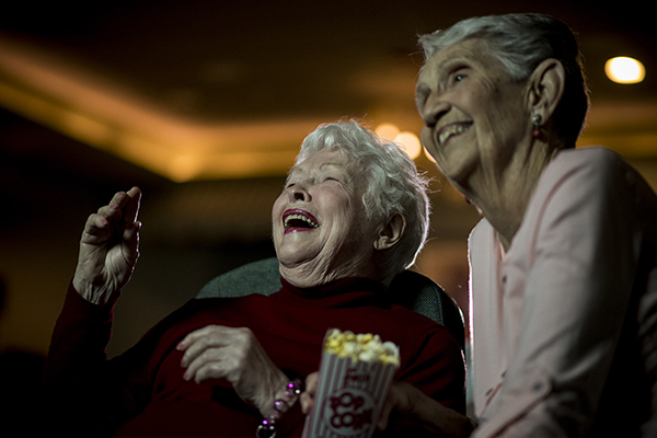 Ladies in movie theater