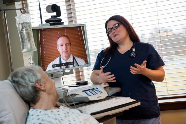 Telehealth nurse talking
